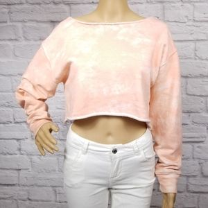 Forever 21 Pink tie dye cropped sweater